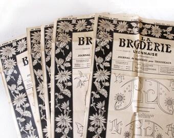 Lot de 5 Magazines de motif de broderie Vintage Français. «La Broderie Lyonnaise, feuilles de Magazine de couture broderie monogramme brodé, 1950