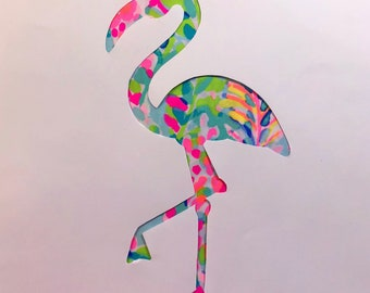 New custom Flamingo Pillow made with Lilly Pulitzer Multi Catch the Wave Fabric