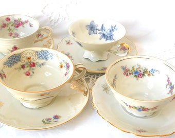 tea set mismatched tea cups and saucers vintage teacups high tea bridal shower tea party mismatched floral teacup 22