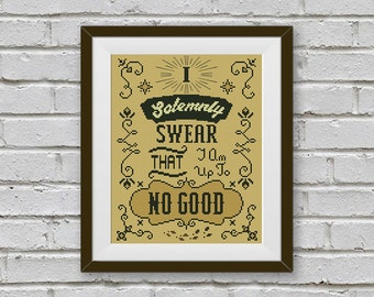 BOGO FREE! Solemnly Swear Cross Stitch Pattern, Harry Potter Qute Cross Stitch, TV- Movie, Home Modern Decor, pdf Instant Download #016-8-3