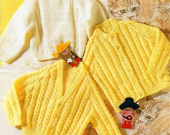 baby cable cardigan sweater knitting pattern PDF download DK cable jackets jumper 18-22 inch DK light worsted 8ply Instant Download