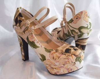 Wedding Shoes - Skull Heels - Mary Janes
