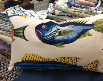 FISH pillow includes insert  ready to ship  13x22