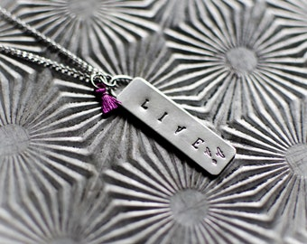 Live Necklace   Sterling Silver Necklace   Silver Pendant   Stamped Necklace   Bohemian Girl   Mothers Day Gift   Stamped Necklace