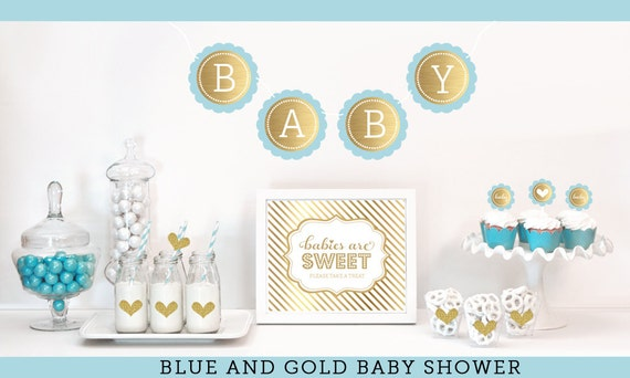 Blue And Gold Baby Shower Decor Boy Baby Shower Ideas Gold