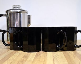 Vintage Black Coffee Cups Arcoroc Octime Octagon France Set of Four