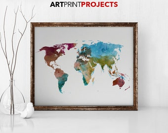World mapworld paintingwatercolor etsy world map watercolor print travel map large world map world map watercolor gumiabroncs Image collections