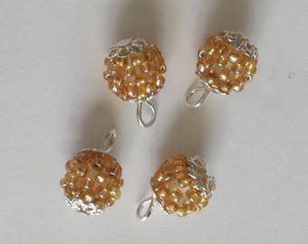 4 pendants seed beads (2.5 mm) transparent gold lined