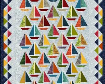 """Quilt Pattern / Scrap happy Sailboats - 65"""" x 85"""""""