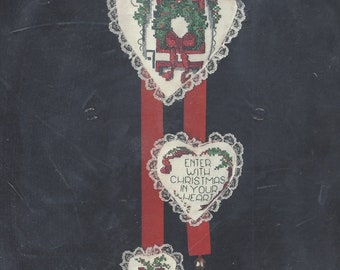 Christmas in Your Heart Bucilla Christmas Heirloom Counted Cross Stitch Kit 82460 NIP Holiday Door Chime Christmas Decorations