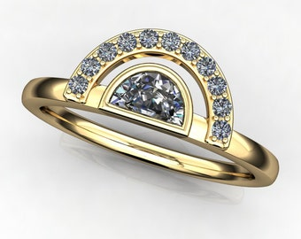 tempest ring - NEO moissanite half moon ring, 14k yellow gold stacking ring