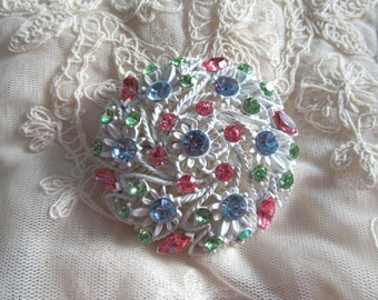 1960's Mod Brooch Pin Pastel Rhinestone Metal Flower Vintage Costume Jewelry Pink Blue Green Mad Men MoonlightMartini