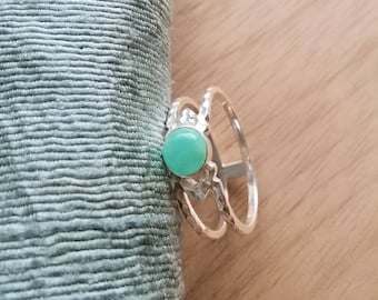 Silver double line ring with amazonite
