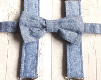 Boys Baby BowTie & Braces Set - Wedding Accessories - Cotton Bowtie - Baby Bowtie  Adjustable Suspenders - Blue Chambray Bowtie Birthday Boy