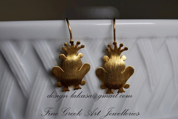 Prince Earrings Sterling Silver Gold plated Fine Greek Art Jewelry Kiss your Frog My Little Princess for her Love Anniversary Woman Gift