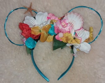 Under the Sea Theme Flower Crown Mouse Ears