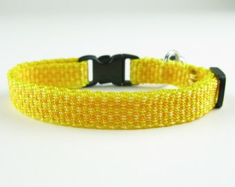 Kitty Cat Collar Hand Woven Breakaway Kitten Collar Bright Yellow Speckle