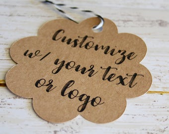 YOUR TEXT HERE, Scallop, Favor Tag, Wedding Favor Tags, Branding, Marketing