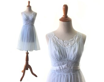XS Blue Nightgown, blue nightie, 1950s nightie, chiffon lingerie, Vintage Nightgown, Sleepwear Intimates / Womens Clothing Lingerie