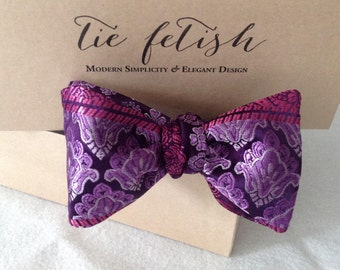Purple, silver, lavender and pink reversible bow tie limited edition