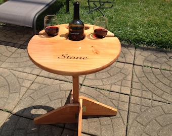 Wedding Gift for the Couple: Folding Wine Table and Stand, Personalized Wedding Gift, Anniversary, Engagement, Bridal Shower, Gift for Her