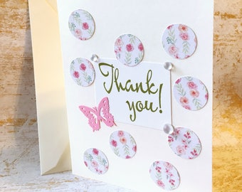 Thank You Card, Butterfly Thank You Card, Appreciation Card, Friendship Card, Thank You Wishes, Just Because Card, Blank Card