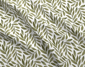 Watercolor Leaves Fabric - Green Leaves On White By Bluebirdcoop - Painted Floral Decor Cotton Fabric By The Yard With Spoonflower