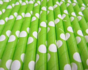 25 Lime Green With White Polka Dot Paper Straws - Drinking Straw - Party Supplies