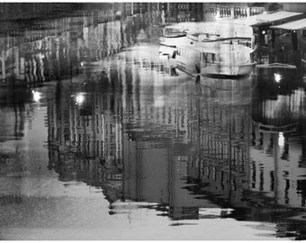 Black and white prints Large wall art Abstract photography Night city print Water reflection St Petersburg artwork poster 20x30, 24x36