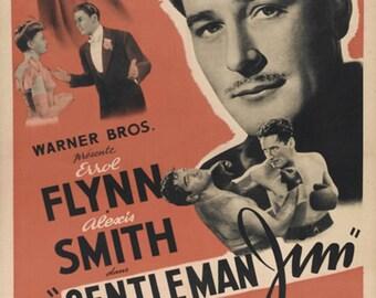Gentleman Jim 1942 Errol Flynn Alexis Smith movie poster reprint 19x12.5 inches #2