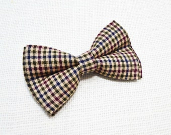 Brown Gingham Bow tie, boys bow tie, infant bowtie,toddler bowtie,mens bowtie,groomsmen bowtie,adult bow tie, brown bow tie