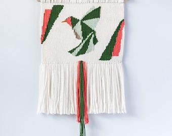 Origami Hummingbird Woven Wall Hanging | Woven Wall Hanging | Woven Tapestry | Home Decor | Nursery Decor | Woven Wall Art