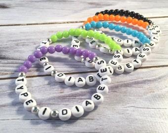 TYPE 1 DIABETES Bracelet - Medical Alert Bracelet - Diabetes Bracelet - Medical Bracelet - Medical ID Bracelet - Acrylic Bead Bracelet
