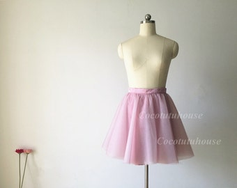 Ombre Dusty Pink/Ivory Two Colors Tulle Skirt Women Short Skirt Bridesmaid Skirt Tulle Skirt/ /Wedding Dress Underskirt/Bachelorette TuTu