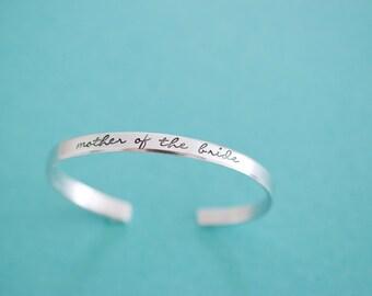 Mother of the Bride Bracelet - Handstamped Bridal Jewelry - Skinny 1/5 inch