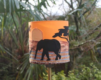 African sunset hand-painted and appliquéd lampshade