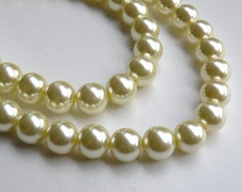 Light yellow glass pearl beads round 12mm full strand 1983GL