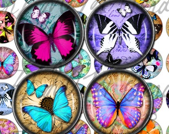 Digital Download - Rainbow Butterflies - 1 inch (25mm) Round Printable images for bottlecap jewellery, pendants, and magnets