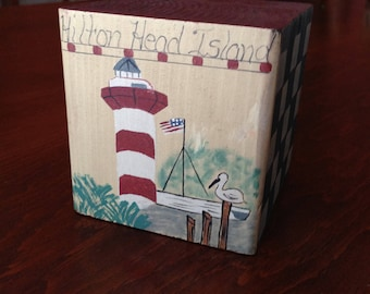Hilton Head Memorabilia Hand Painted Wooden Block  HarbourTown's Iconic  Lighthouse Village Collectibles Wonderful Beach Vacation Memory