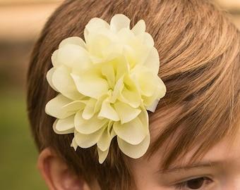 Yellow hair clip, yellow hair flower, yellow chiffon flower, fancy flower hair clip hair accessory, yellow hair clip yellow hair accessory