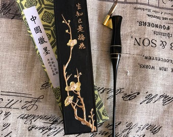 Black Ink Stick with Plum Blossom *Hu Kai Wen*