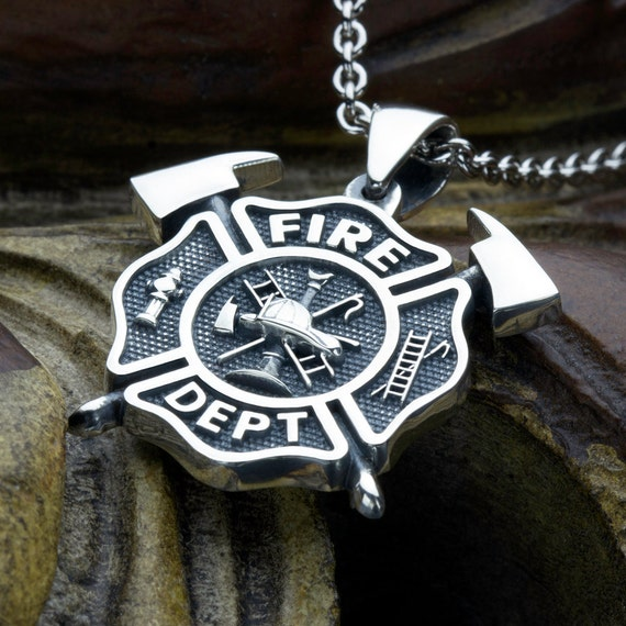 Small Firefighter Fire Department Maltese Cross With Crossed