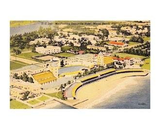 Vintage 1940's Postcard McFadden Deauville Hotel Miami Beach, Florida