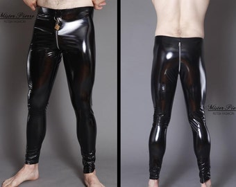 Custom Made Leggings with Front D ring Spandex Vinyl alternative to latex or PVC