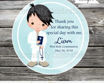 Communion boy tags stickers, Confirmation, Religious, Set of 12 Personalized Favor Tags, Stickers, Party Favors, mi primera comunion