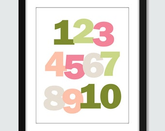 Numbers 123 - 1 to 10 - Wall Art - 8x10 Children Nursery Wall Print Poster