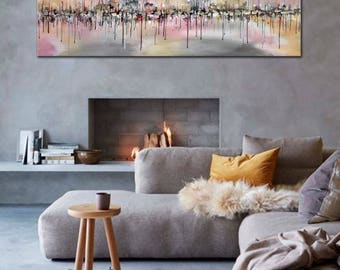 Relaxing Afternoon, Contemporary Art by Artist Bilyana Stoyanova, Original Abstract Painting, Grey, Pink, Gold and Silver