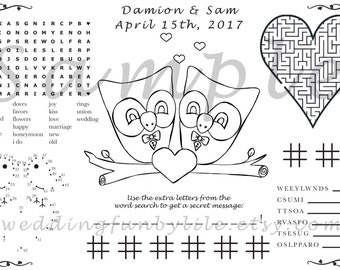 Owl Kids Wedding Activity Page PDF.Gay, Lesbian, Queer. Customized Favor. Your Names & Date. You Choose Wedding Couple's Outfits, Paper Size