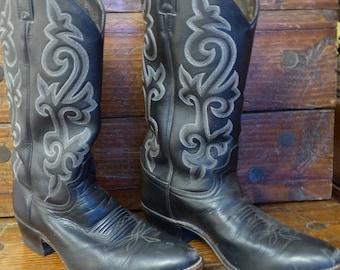 Men's Justin Buck Black Cowboy Boot Men's 8.5