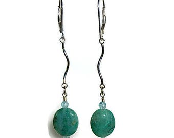 Silver Earrings with African Turquoise and Apatite